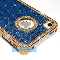 LiViTech Cushion Quilted Designer Diamond Rhinestone Crystal Bling Case iPhone 4 4S (AT&amp;T ,VERIZON,SPRINT) (Sparkly L Blue)