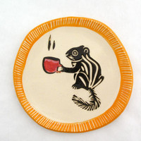Chipmunk with Cappuccino Plate -Orange Rim