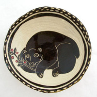 Bear Bowl with Polka Dotted Rim