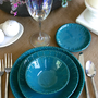 Dark Teal Dinnerware Set - Dinner Salad Dessert Bread Plate and Bowl - 3 Piece Set - Aqua Mist Creamy White - French Country