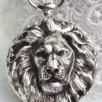 Lion pocket watch, King of the Jungle pocket watch, with silver lion mounted on front case