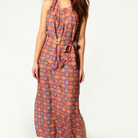 Katie Geo Maxi Dress With Cross Back Detail
