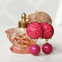 Perfume Bottle Earrings in Pink, Sweet Bohemian Jewelry