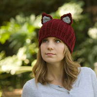 Cat Ear Hat, Red Panda Beanie, Red Fox Ski Cap, Crochet Animal Ear Hat