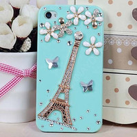 Pearl case 3D Eiffel tower &amp; pearl flowers - iPhone 4 Case, iPhone 4s Case,iphone 5 case