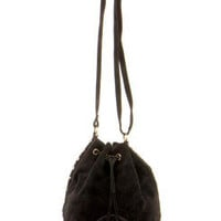 Cassie Studded Suedette Drawstring Bag