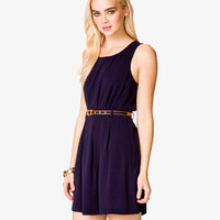 Pleated Dress w/ Striped Belt | FOREVER 21 - 2040928197