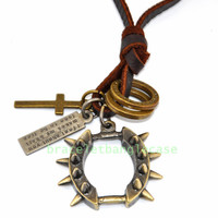 Ancient Neck cuffed pendant necklace with brown leather ,bronze cross,bronze double circle for men or women pendant necklace d-356