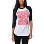 Obey Girls Peace Poster White & Black Baseball Tee Shirt