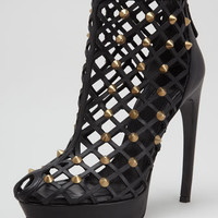 Studded Leather Cage Bootie, Black