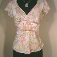 Banana Republic Top 2 XS pink floral tie waist ruffle cap sleeve v-neck blouse