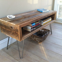Industrial wood & steel coffee table or TV/media stand, reclaimed barnwood with hairpin legs.