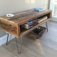 Industrial wood &amp; steel coffee table or TV/media stand, reclaimed barnwood with hairpin legs.
