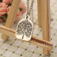 Tree of life necklace,retro silver unique wishing tree necklace,Lucky gift---N115