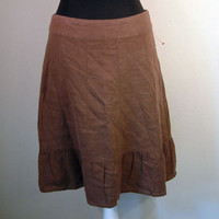 Anthropologe Skirt 2 XS X SMALl brown linen ruffle hem by Maeve NEW! Linen
