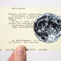 Moon on Library Card - Print of moon painted on library card catalog card for the book Astronomy