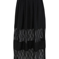 Black Lace Insert Maxi Skirt