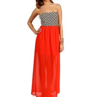 Pre-Order Tomato Chevron Maxi Dress