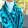 Tribal Turquiose Aztec iInfinity  soft cotton knit circle scarf