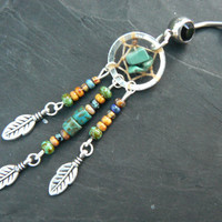 turquoise dreamcatcher belly ring turquoise heishi czech in native american tribal boho hippie belly dancer and hipster style