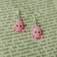 Pink Skull Dangle Pierced Womens Earrings