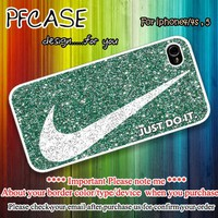 Nike glitter Just do it mint : Case For Iphone 4/4s ,5 /Samsung S2,3,4