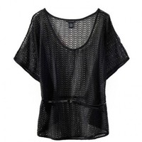 Mesh Design Cape T-shirt with The Belt
