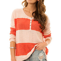 Free People Sweater Gold Rush Henley in Pink