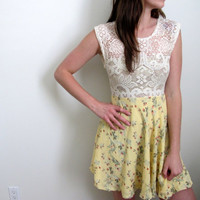 See Through Lace Sundress Mini Dress White Yellow Floral Print Low Back Summer