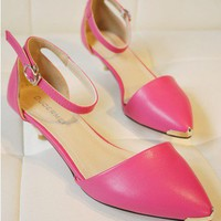 Roseo PU Leather Heel Shoes with Metal Tips