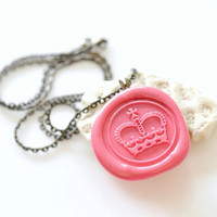Personalized Wax Seal Necklace - Royal Crown - 10 Colors Available