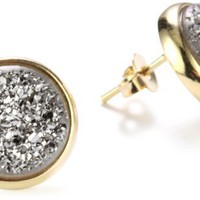 Marcia Moran Titanium Druzy Stone Circle 18k Gold-Plated Earrings
