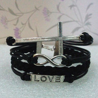Infinity Bracelet.Cross Bracelet.Love Symbol Bracelet-Black Wax Cords and Braid bracelet.Bracelet
