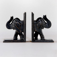 Espresso Elephant Bookends, Set of 2