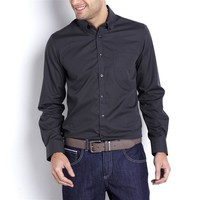 Plain Slim-Fit Long-Sleeved Shirt with Button-Down Collar