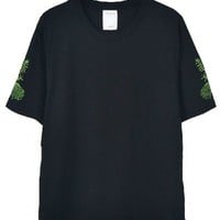Black Crew Neck T-shirt with Leaf Embroidery