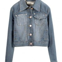 Cropped Faded and Washed Denim Jacket