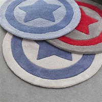 Child's Round Tufted Cotton Star Rug