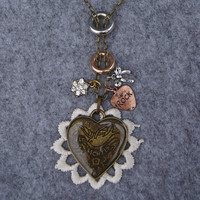 Fly Lightly Heart and Lace Flower Long Necklace