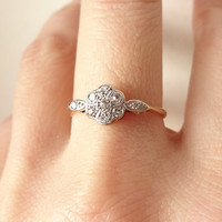 Art Deco Diamond Flower Ring, Antique Engagement Ring, Diamond Platinum and 18k Gold Wedding Ring Approximate Size US 6.75 / 7