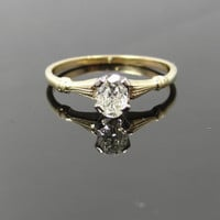 Simple Yellow Gold Vintage Oval Diamond Solitaire Engagement Ring - RGDI351P