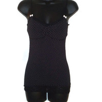 Black Rockabilly Goth Tank Top White Polka Dots Size XS