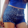 Studded shorts,high waist denim shorts by Jeansonly