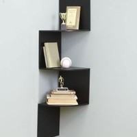 Black Wall Corner Shelf Unit