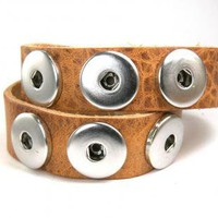 Double Bracelet Leather for Chunkies Poppers for Amsterdam Click System NATURE by XCognito