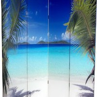 Unique, Colorful Nature Photography - 6ft. Ocean Beach Photo Print Room Divider - 2 Sizes
