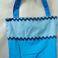 Reversible Cotton Tote Tri Colored Blues Beach Tote Portion of Proceeds to Charity