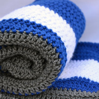Dodger fan inspired crochet blanket, afghan, lap blanket, travel blanket, team sports baseball blanket