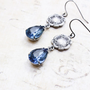 Blue Glass Earrings, Silver Floral Montana Sapphire Blue, Estate Style Jewellery, Something Blue, Bridal Earrings, Pear Shaped Drop, Long