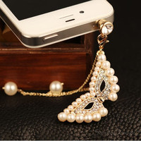 1PC Alloy Plated Real Gold Bling Crystal Pearl Mask Chain Earphone Antidust Plug Charm for iPhone 5 &amp; 4, Samsung S4,S3